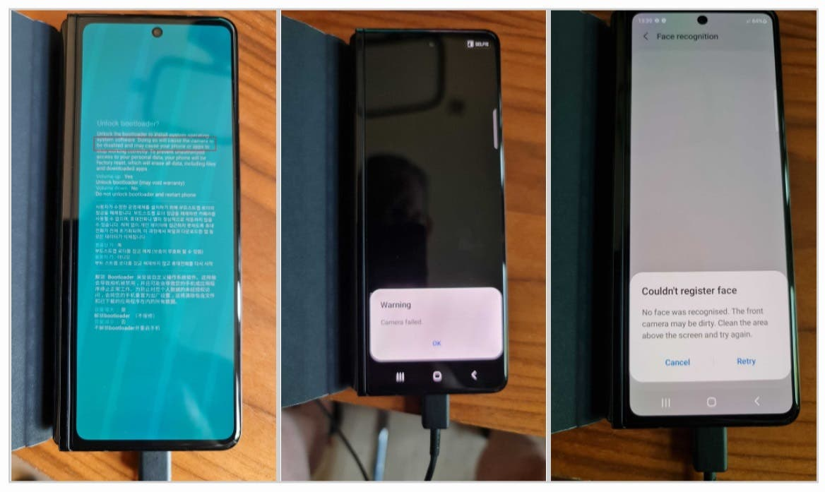 Galaxy Z Fold 3: Разблокировка загрузчика полностью отключит камеры